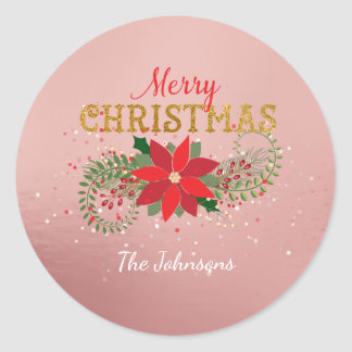 Merry Christmas English Rose Gold Glass Classic Round Sticker