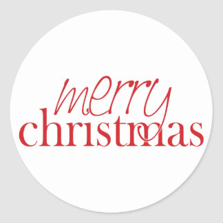 Merry Christmas Envelope Enclosure Round Sticker