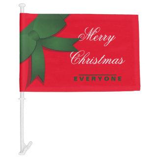 Merry Christmas Everyone Bow Car Flag