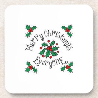 Merry Christmas Everyone Beverage Coaster