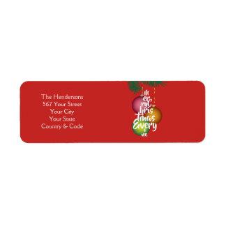 Merry Christmas Everyone Script Tree & Name - Return Address Label