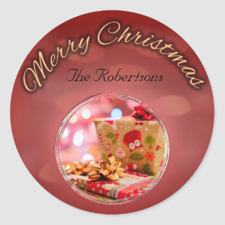 Merry Christmas Faded Lights Round Sticker