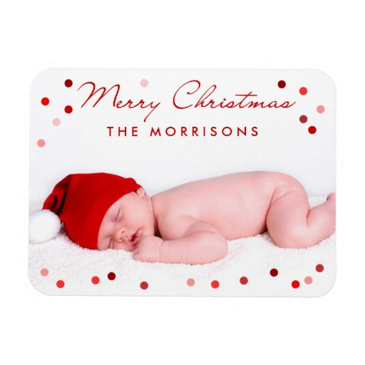 Merry Christmas Family Baby with Red Dots Rectangular Magnet