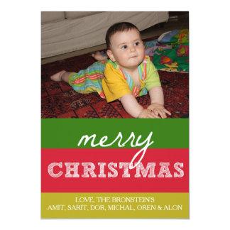 Merry Christmas Family Photo Card Xmas Colors
