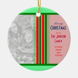 Merry Christmas Family Photo Greetings Round Ceramic Decoration