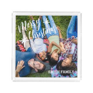 Merry Christmas Family Portrait Acrylic Tray
