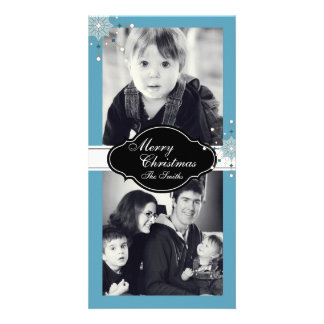 Merry Christmas Family Two Photo Card - Blue