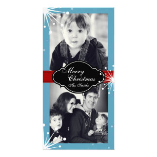 Merry Christmas Family Two Photo Card Red Blue