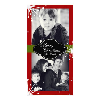 Merry Christmas Family Two Photo Card Red Green