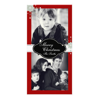 Merry Christmas Family Two Photo Card - Red
