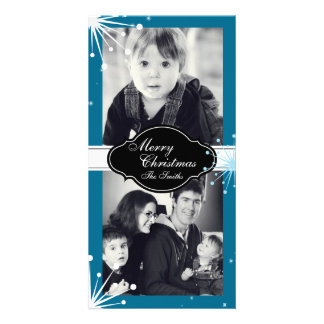 Merry Christmas Family Two Photo Card White Blue