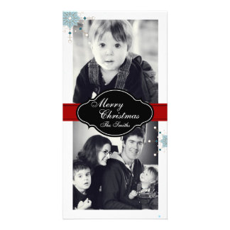 Merry Christmas Family Two Photo Card - White Red