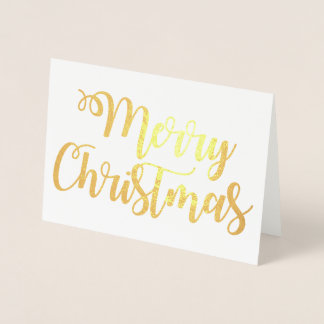 Merry Christmas Fancy Typography Script Foil Card