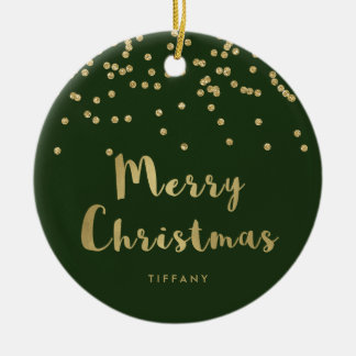 Merry Christmas | Faux Gold Confetti on Green Ceramic Ornament