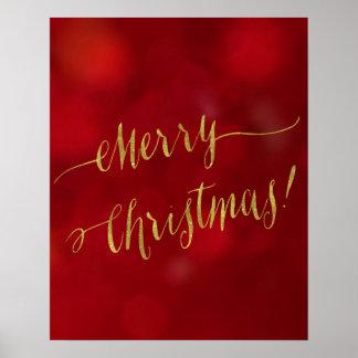 Merry Christmas Faux Gold Foil Red Bokeh Script Poster