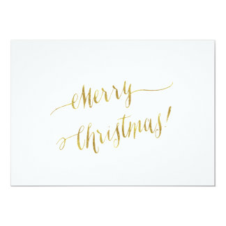 Merry Christmas Faux Gold Foil Script Lettering Card