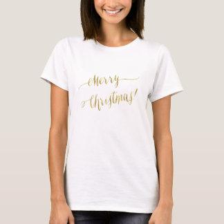 Merry Christmas Faux Gold Foil Script Lettering T-Shirt