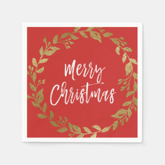 Merry Christmas Faux Gold Foil Wreath Disposable Serviettes