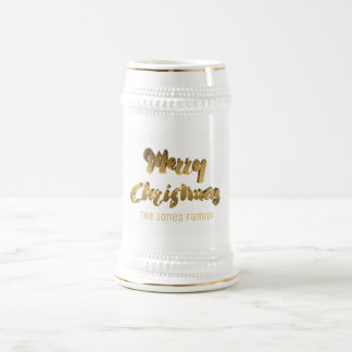 Merry Christmas Faux Gold Text Typography Elegant Beer Stein