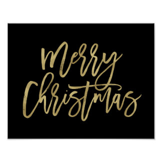 Merry Christmas | Faux Gold Typography on Black Poster