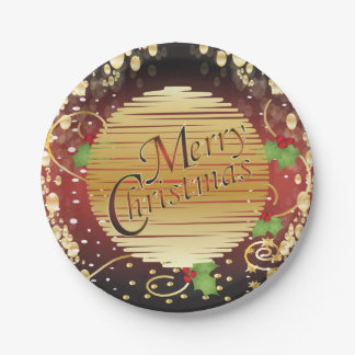 Merry Christmas Festive Burnt Orange and Gold 7 Inch Paper Plate