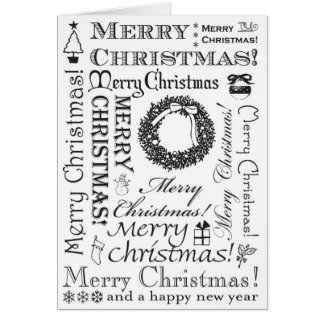 Merry Christmas Festive Fonts BW Card