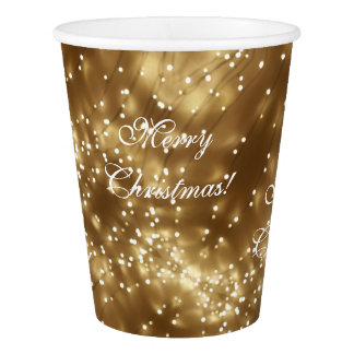 Merry Christmas Festive Gold String of Lights Chic Paper Cup