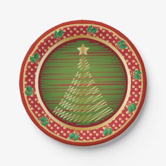 Merry Christmas Festive Gold Tree 7 Inch Paper Plate