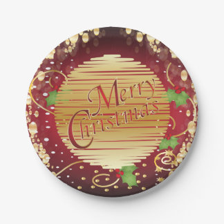 Merry Christmas Festive Green, Red and Gold 7 Inch Paper Plate