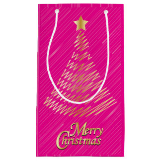 Merry Christmas Festive Hot Pink and Gold Tree Small Gift Bag