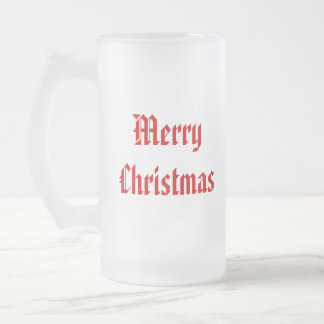 Merry Christmas. Festive Red and White. Custom Frosted Glass Beer Mug