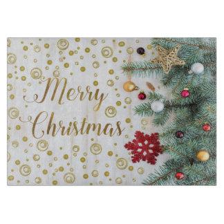 Merry Christmas Festive Tree Gold Circles Cutting Board
