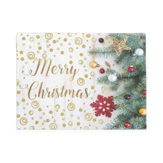 Merry Christmas Festive Tree Gold Circles Doormat