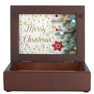 Merry Christmas Festive Tree Gold Circles Keepsake Box