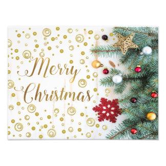 Merry Christmas Festive Tree Gold Circles Photo Print