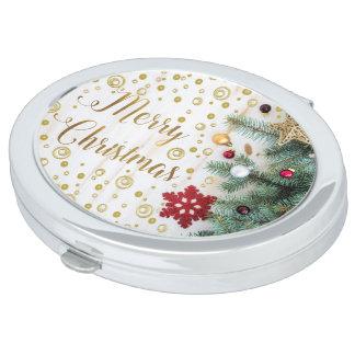 Merry Christmas Festive Tree Gold Circles Vanity Mirror