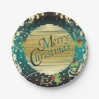 Merry Christmas Festive Turquoise Blue and Gold 7 Inch Paper Plate