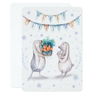 Merry Christmas Festive Winter Bunnies Card