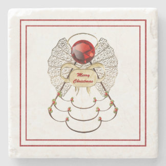 Merry Christmas - Filigree Christmas Angel Stone Beverage Coaster