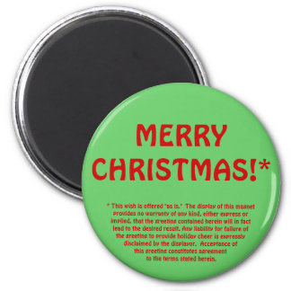 MERRY CHRISTMAS!* (fine print) 6 Cm Round Magnet