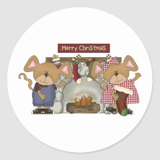 merry christmas fireplace mice classic round sticker