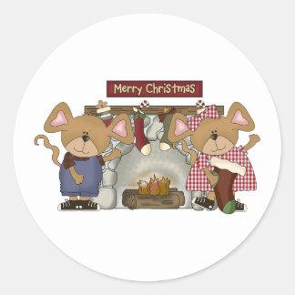 merry christmas fireplace mice round sticker
