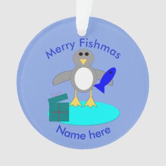 Merry Christmas Fishing Penguin Acrylic Ornament