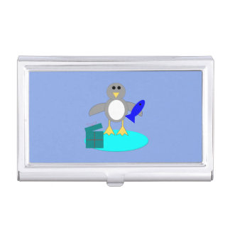 Merry Christmas Fishing Penguin Card Holder
