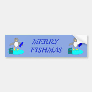 Merry Christmas Fishing Penguin Custom Car Sticker