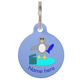 Merry Christmas Fishing Penguin Custom Dog Tag