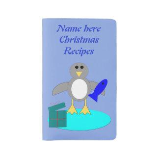 Merry Christmas Fishing Penguin Custom Large Moleskine Notebook