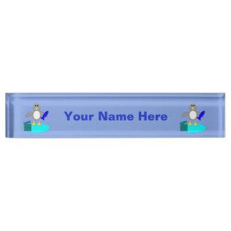 Merry Christmas Fishing Penguin Custom Nameplate