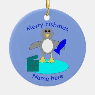 Merry Christmas Fishing Penguin Custom Ornament