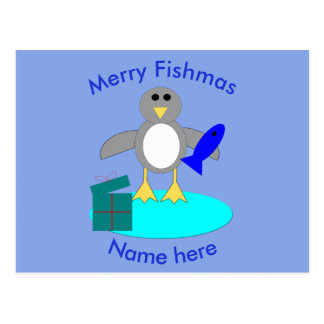 Merry Christmas Fishing Penguin Custom Postcard